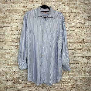 Luciano Barbera blue pinstripe dress shirt 43/17